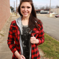 Southern Plaid Button Up {Red/Black}