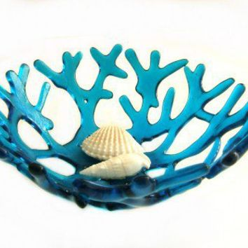 Deep Turquoise Aqua Beach Sea Coral Glass Bowl - Uneek Glass Fusions