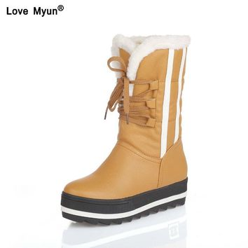 Flat Platform Women Snow Boots Waterproof Winter Warm Shoes Casual Plush Leather Mid-Calf Boots Female Plus Size Shoes yhj89