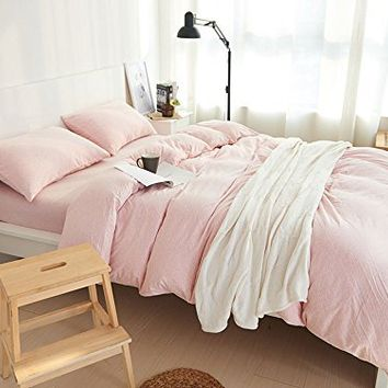 HOUSEHOLD 100% Cotton Jersey Knit Duvet Cover Light Weight,Comfortable,Extremely Durable Includes 2 Pillowcase (Pale Pink, Queen)