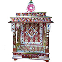 Beautiful Meenakari Multicolor Home Puja Mandir Hindu Temple Mandapam Altar