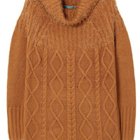 Camel Cable Knit Long Sweater