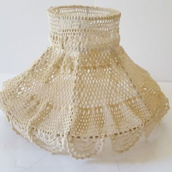 Antique Crocheted Lamp Shade Victorian Wire Frame Molded Hurricane Shade