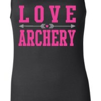 Juniors Black Longer Length Love Archery Tank Top