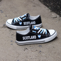 Scotland Flag Pride Low Top Canvas Shoes Custom Printed Sneakers