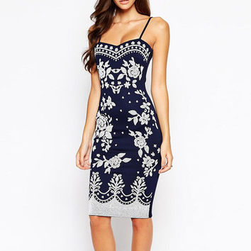 Navy Spaghetti Straps Floral Bodycon Midi Dress