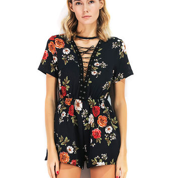 Black Floral Print Lace Up Front Romper