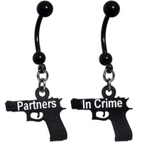 Handcrafted Partners in Crime Best Friends Dangle Belly Rings
