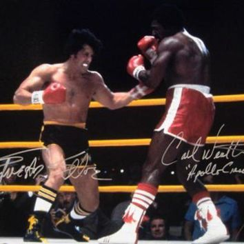 DCCKJNG Sylvester Stallone & Carl Weathers Signed Autographed 'Rocky' Glossy 16x20 Photo (ASI COA)