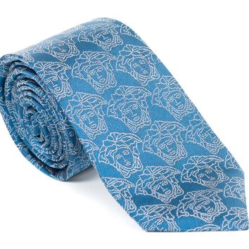 Gianni Versace All Medusa Blue Silk Tie