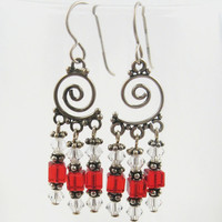 Bali silver spiral chandelier earrings with red crystal cubes and Swarovski bicones
