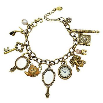 AUGUAU Q&Q Fashion Vintage Fairytale Charms Alice in Wonderland Style Frog Mirror Tea Party Chain Girl Cuff Bangle Bracelet