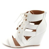 Single Sole Cut-Out Lace-Up Wedges by Charlotte Russe - White