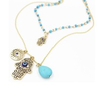 Multilayer Fatima Hamsa Necklace