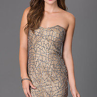 Sequin Embellished Strapless Party Dress