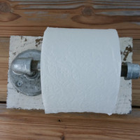Toilet paper holder Rustic barn wood industrial pipe bathroom decor handmade farmhouse primitive antique vintage barnwood christmas gift
