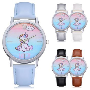Fashion Cute Animal Kids Girls Leather Band Analog Alloy Quartz Watch
