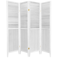 6 Ft. Tall White Four Panel Beadboard Room Divider Oriental Unlimited Screens & Panels Scr