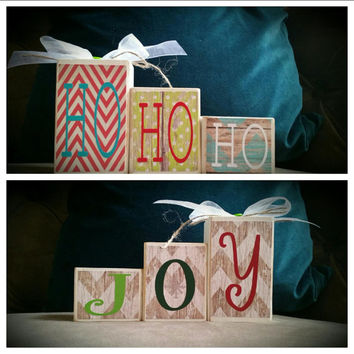 Custom Mini Reversible Holiday Ho Ho Ho / Joy Home Decor Blocks