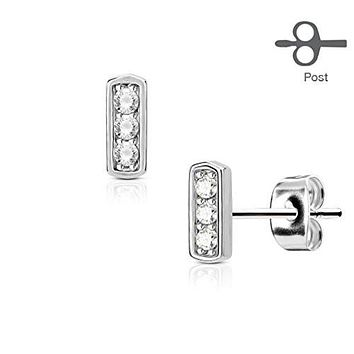 Pair of Three CZ Set Square Bar 316L Surgical Steel Post WildKlass Earring Studs