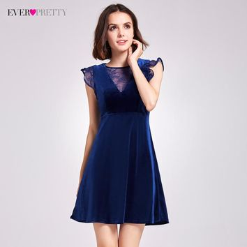 Sexy Velvet Cocktail Dresses Ever Pretty AS05897 A-Line Mini V-Neck Cocktail Party Dresses With Ruffles 2017 Women Lace Dresses
