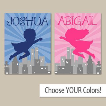 SUPERHERO Wall Art, Boy Girl Personalized Name Decor, Boy Bedroom Pictures, Girl Bedroom, Twin Boy Girl, Set of 2 Canvas or Prints Pictures