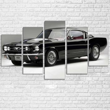 5 Panel 1965 Ford Mustang GT Fastback black white panel print Wall Art Decor
