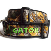 "Personalized Camo Dog Collar - Nylon Custom 2"" Dog Collar with Color Options"