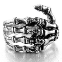 Men's Stainless Steel Ring Band Silver Black Skull Hand Bone Gothic