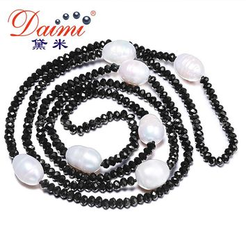 DAIMI 11-12MM Natural Big Rice Pearl & 4mm Crystal Necklace White Black Jewelry 90cm Long Pearl Necklace