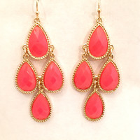 Neon Nights Dangle Earrings In Hot Pink