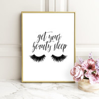 Bedroom Get your beauty sleep,Fashion,Lashes,Lashes Printable,Lashes Ilustration,Fashion Quote,Girl Room Decor,Printable Quote,BEDROOM DECOR