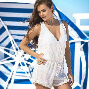 DCCKAV3 Summertime White Cover Up & Beach Romper