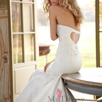 Trumpet/Mermaid Strapless Floor-length Satin White Dress With Applique at Msdressy