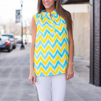 Digital Chevron Sunny Day Tank, Yellow