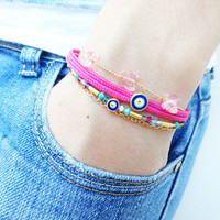 Evil eye bracelet set of 3 pink turkish istanbul jewelry turqoise accessories best friend christmas birthday gifts for women fish charm teen