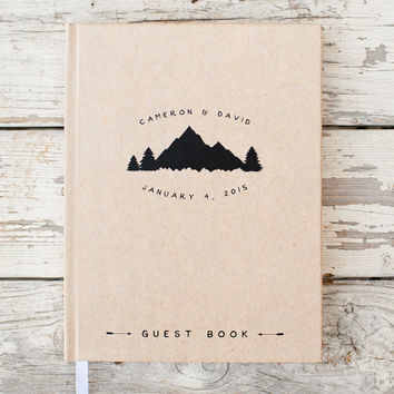 Wedding Guest Book Wedding Guestbook Custom Guest Book Personalized Customized custom design rustic guest book wedding gift mountain wedding