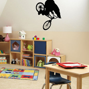 Housewares Wall Vinyl Decal Any Room Bike Sport Jumping Bicycle Cycle Mural Sticker V150