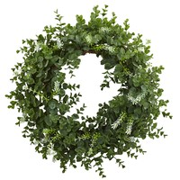 Front Door Wreath -18 Inch Eucalyptus Double Ring Wreath With Twig Base Artificial