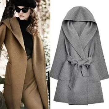 European Fashion Winter Hooded Long Sleeved Cashmere Overcoats Bow Belt Mustard Yellow Cardigan Shawl Cape Wool Coat A19