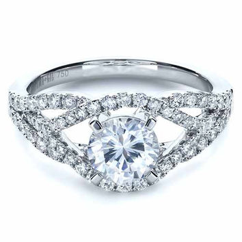 2.10ct E-SI1 Round Diamond Halo Engagement Ring Platinum JEWELFORME BLUE