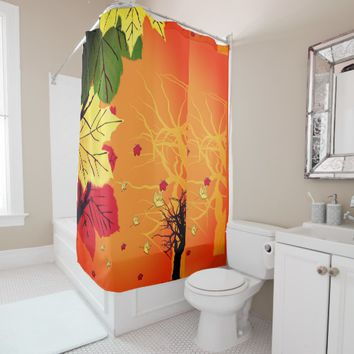 Thanksgiving Card with Leaves at Sunset Shower Curtain