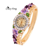 Vintage relogio Quartz Watches Luxury Brand Women Relogio Feminino Bracelet Fashion Gold Plated Crystal Montre Femme Watches NEW