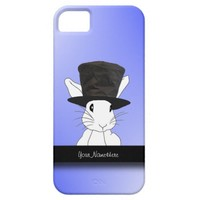 White Rabbit in Top Hat Blue iPhone 5 Case