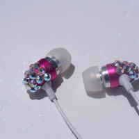 Hot Pink Ear phones MIC MP3 Controller Embellished with Swarovski Crystals - Free US SHIPPING