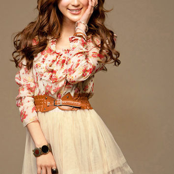 2013 New Summer Floral Long Sleeve Chiffon Girl Lovely Mini Dress Stylish Casual