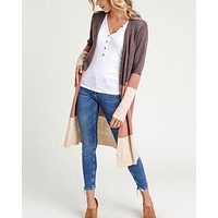 lightweight long sleeve open cardigan - brown multi