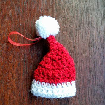 Small crochet Santa hat Christmas decoration
