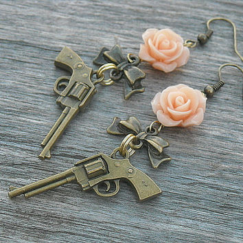 Gun Earrings, Guns and Roses, Pistol Earrings, Revolver Earrings, Western Pistol Jewelry, Bow Earrings,