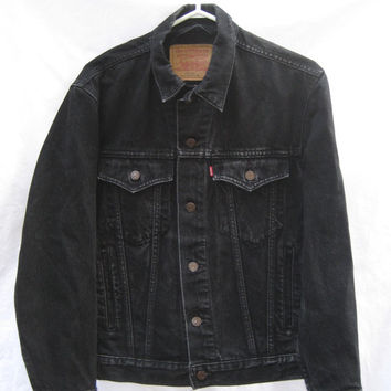 Levis Black Denim Jean Jacket Trucker Style Men Women Vintage Red Tab Made in Canada Clean Used Unisex